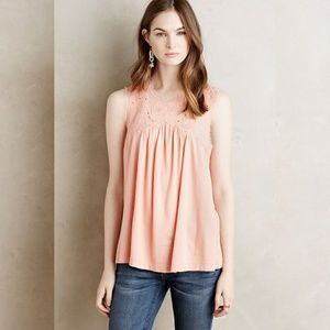 NEW Antropologie Meadow Rue Laia Shell Peach Top